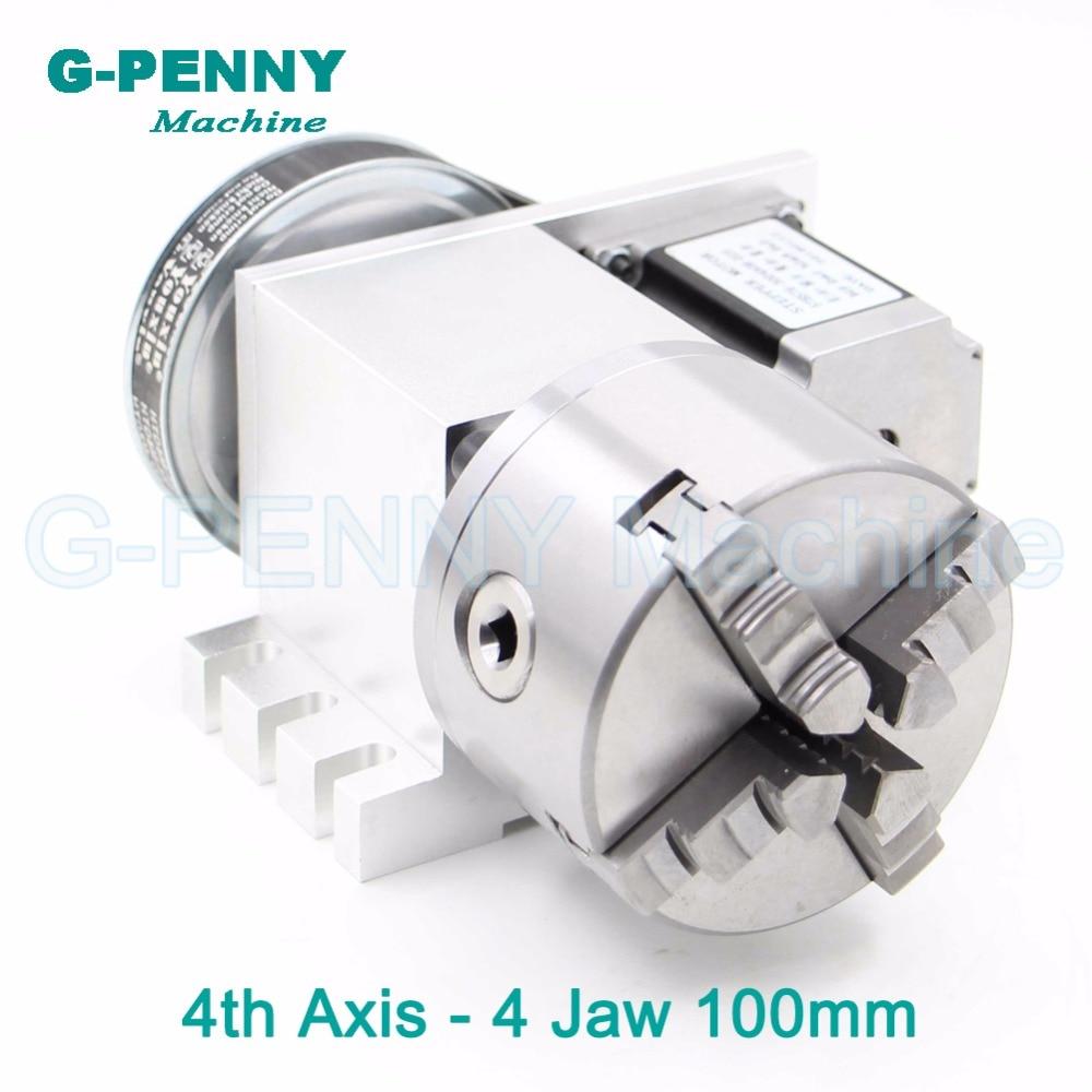 4Jaw100mm 4th Axe CNC tête de division/Rotation 6:1 Axe/Un axe kit avec nema23 moteur pas à pas pour CNC routeur de gravure du bois