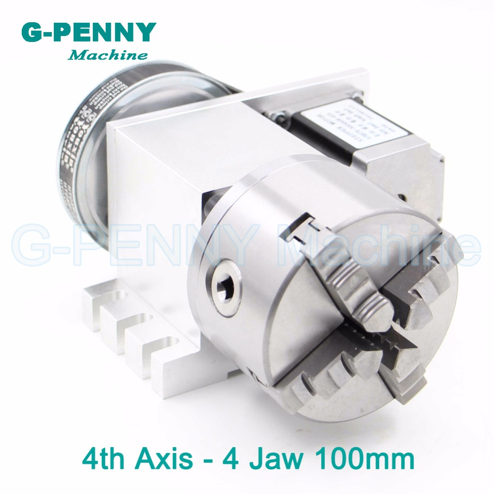 4Jaw100mm 4th Axis CNC dividing head/Rotation 6:1 Axis/A axis kit with nema23 stepper motor for CNC router woodworking engraving hot selling small equipment business with stepper motor cnc router 600 900mm 600 400mm