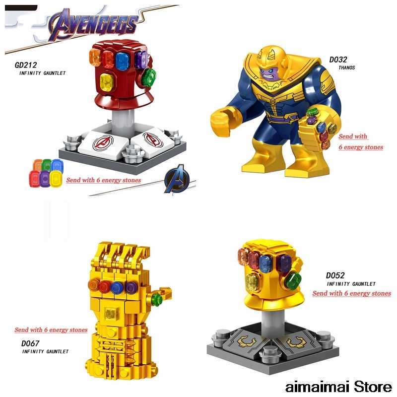 Legoing Thanos Energy Stones Gloves Gauntlet Avengers 4 Eedgame Infinity War Iron Man Captain Marvel Hulk America SuperheroeGift