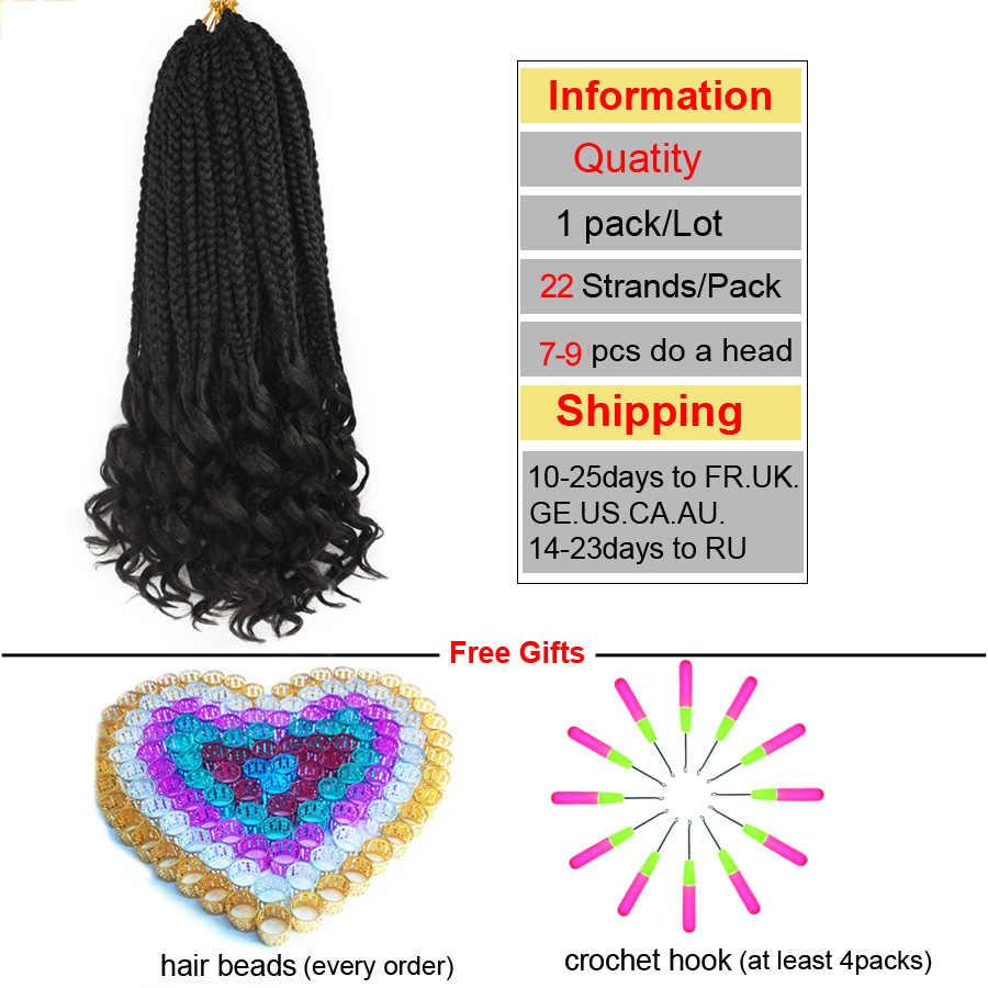 TOMO 22 raíces caja de 14 pulgadas trenzas de ganchillo cabello Ombre trenzado sintético cabello tejido 35cm 60g de pelo de ganchillo extensión para trenzas