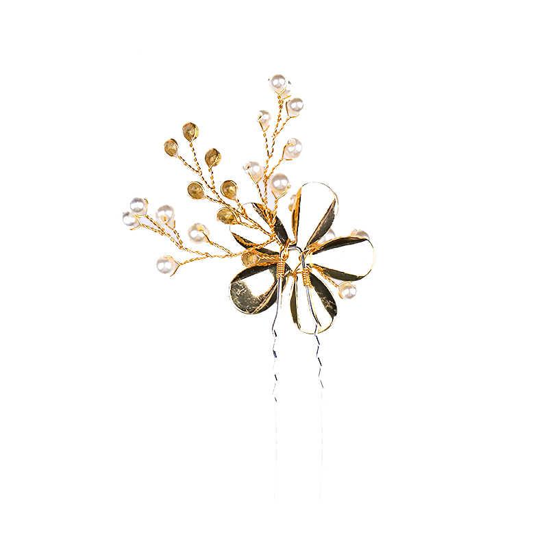 1 PC Vintage or épingles à cheveux et Clips perle fleur métal cristal cheveux bijoux pour femmes fait à la main accessoires de mariage ornements