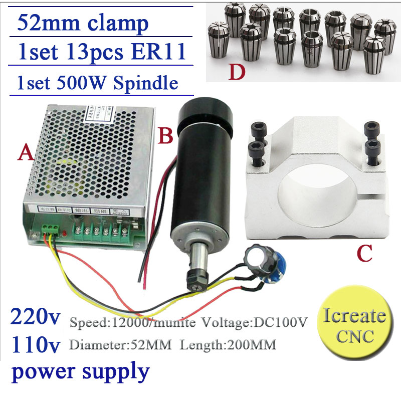 Free Shipping cnc spindle 500W air cooled 0.5kw milling Motor & spindle speed power converter &52mm clamp &13pcs er11 collet free shipping cnc spindle 500w er11 collet dc 0 5kw air cooled spindle motor 52mm clamp for engraving milling machine