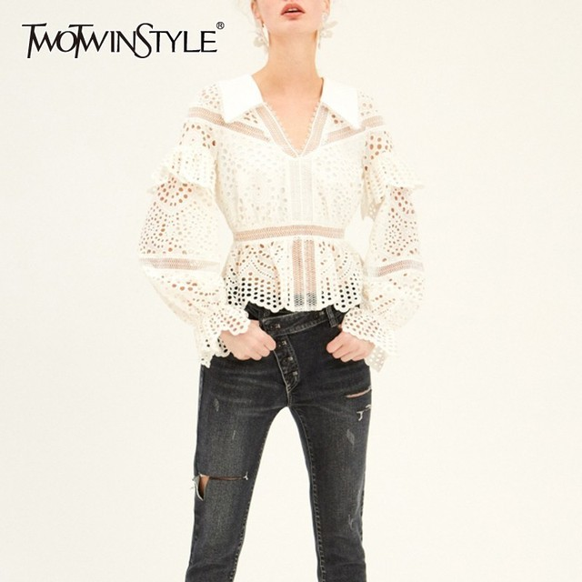 22eb5d8ce1b TWOTWINSTYLE Summer Lace Hollow Out Women's T Shirt V Neck Long Flare  Sleeve Ruffles Korean Clothing Female Fashion New 2019