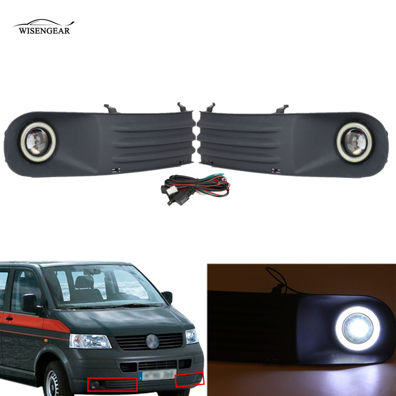 WISENGEAR Angel Eye Fog Light Lamp Grill LED Lights For Volkswagen VW Transporter T5 T28 T30 2003-2009 Car Front Bumper Grille / runmade for 2010 vw transporter t6 t5 before facelift lower bumper grill fog cover fog light lamp set left