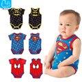 Verano Bebé Recién Nacido Niños Niñas Ropa Superman Batman Spiderman Mamelucos de Algodón de Manga Corta Chaleco Traje 0-24 M Niños buzos