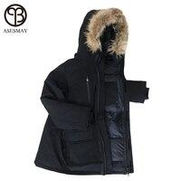 Asesmay Men Down Jacket Goose Feather Coats Wellensteyn Jackets Male Long Casual Winter Puffer Jackets Youth Raccoon Fur Parkas