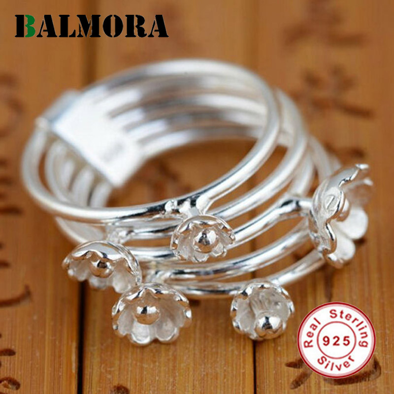 100% real pure 925 sterling silver jewelry ring S925 Thai silver craft Natural Argent Pur Lily Flower Rings Gifts for women men
