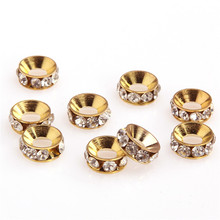 20pcs 10x5mm Rhinestone Stainless Steel Spacer Metal Big Hole Beads For Jewelry Making Diy Bracelet Accessories For Needlework