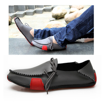 2019 Spring Plus Size 38 47 Men Red Soft Bottom Breathable Leather Shoes Men Loafers Fashion Moccasins Comfortable Leather Shoes