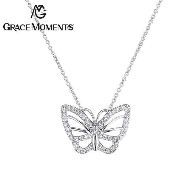 Grace Moments Zircon Butterfly Pendant Necklace White and Rose