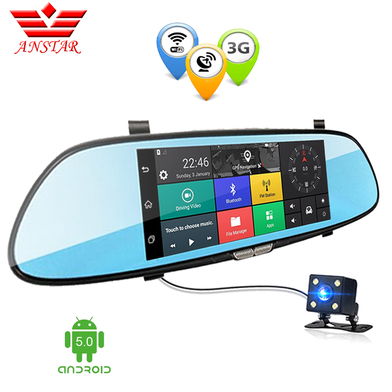 ANSTAR Android 3g Dual Lens Car DVR Spegelkamera 7,0 tums GPS Full HD 1080P DVRs Bluetooth WIFI Dash Cam Video Recorder Dashcam