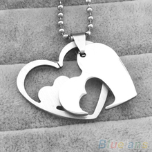 Women's Stainless Steel Double Layers Love Hearts Pendant Chain Necklace Jewelry 4POK