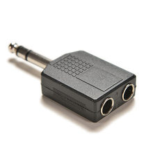 "6.7x2.8cm 1/4"" Stereo Audio Jack Plug Adapter Single Male to Female 6.35mm Dual Mono Headphone Microphone Y Splitter Converter(China)"