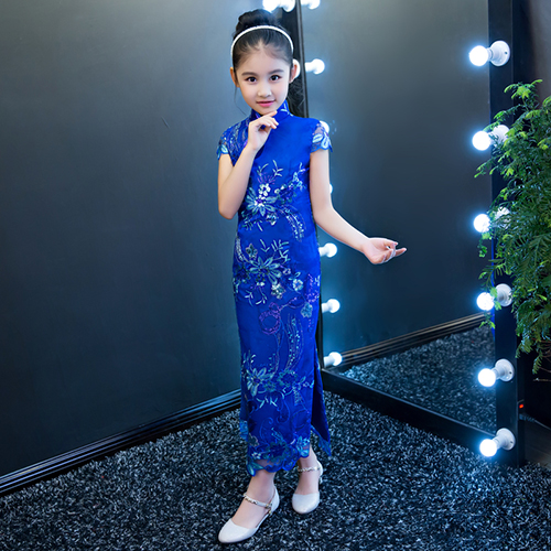 2017 autumn adorable flower girls dress toddler baby girls printed chinese party wedding dress cheongsam clothes uoipae party dress girls 2018 autumn
