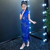 2017 autunno adorabile flower girls dress del bambino del bambino delle ragazze stampato partito abito da sposa abiti cheongsam cinese