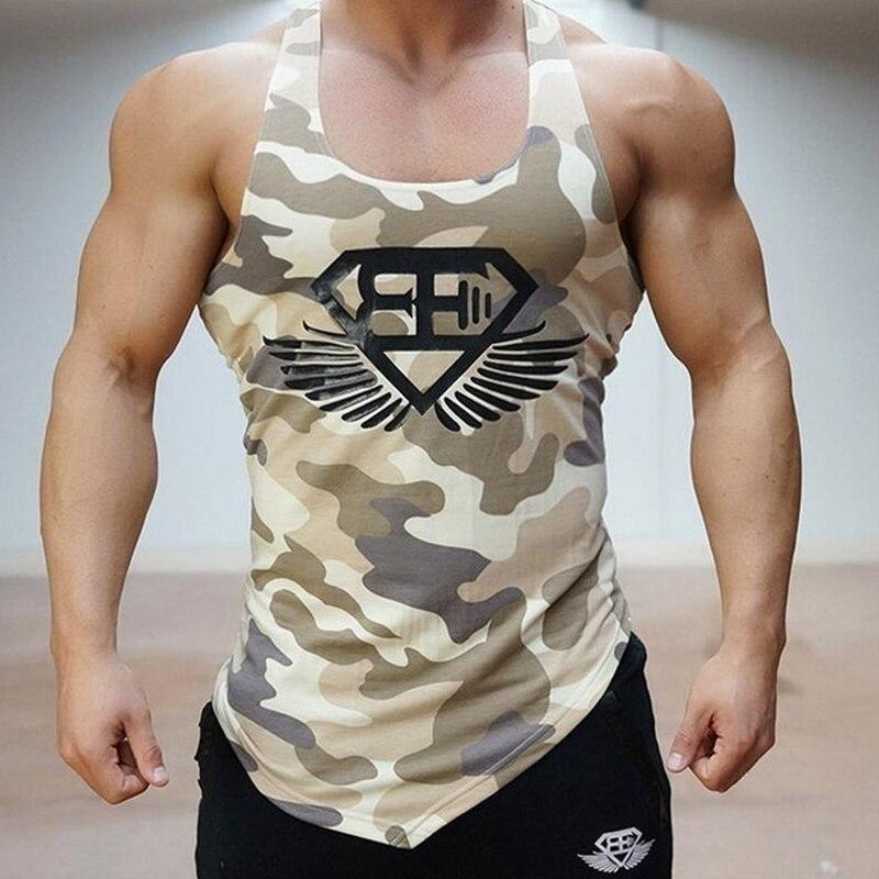 MarKyi 2017 Nuevo verano camuflaje gyms tank top hombre bodybuilding buena calidad UE tamaño Mens camiseta sin mangas