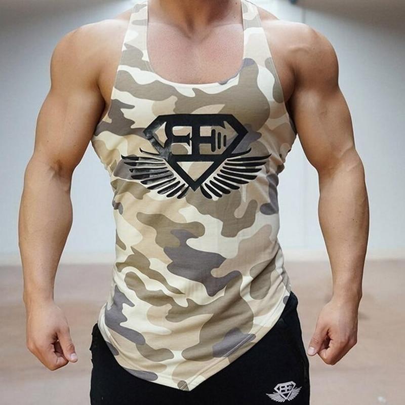 MarKyi 2017 nuova estate camouflage palestre canotta uomo bodybuilding buona qualità formato di UE Mens Canotta Senza Maniche camicia