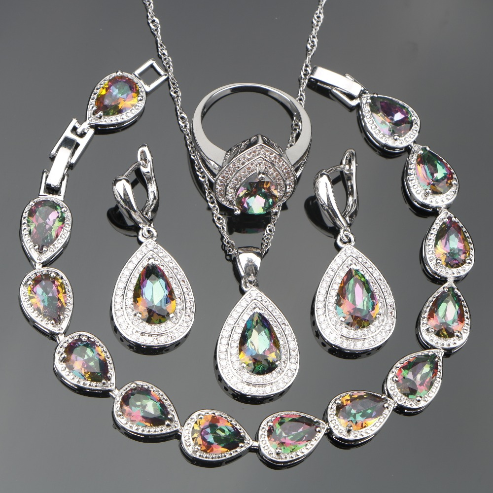 Bridal 925 Sterling Silver Jewelry Sets Women
