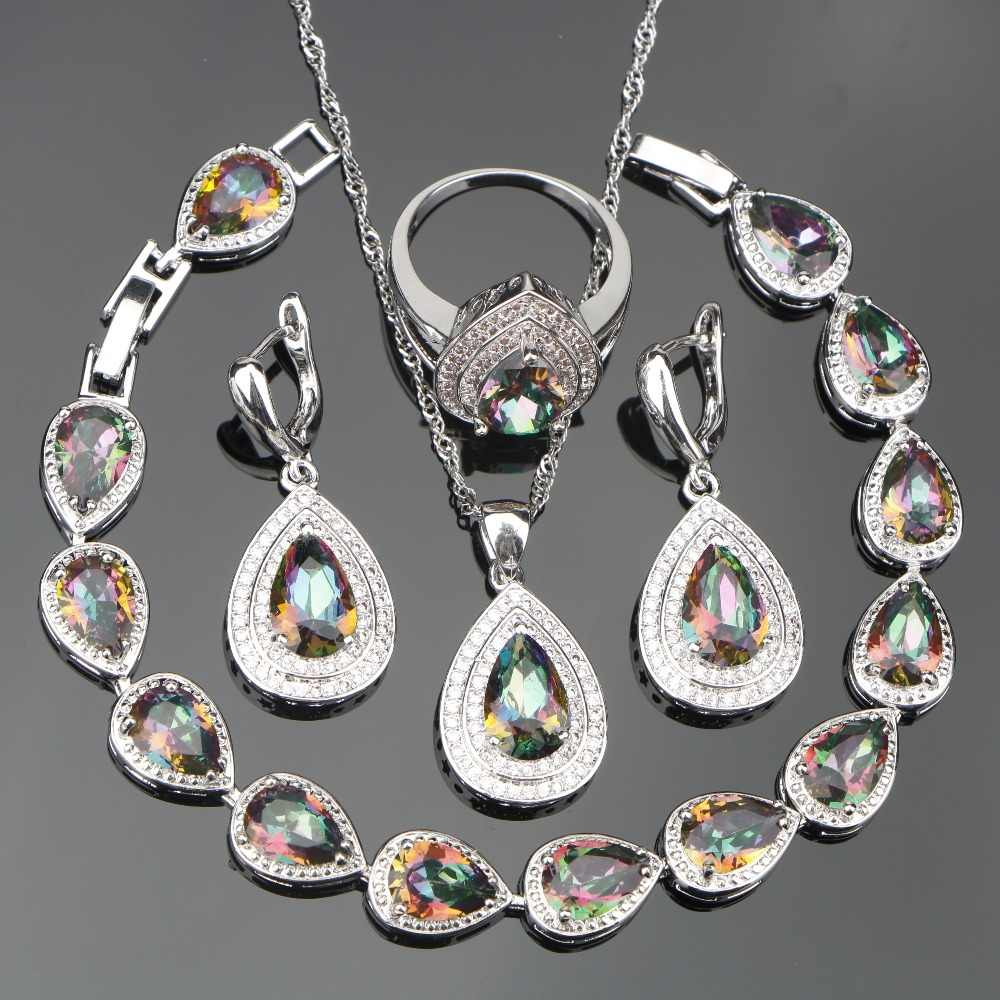 Bridal 925 Sterling Silver Jewelry Sets Women Wedding Jewelry With Rainbow Zirconia Earrings Necklace Ring Bracelet Set Gift Box