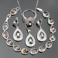 New Style 925 Sterling Silver Jewelry Sets For Women Drop Rainbow Topaz Earrings Pendant Necklace Rings