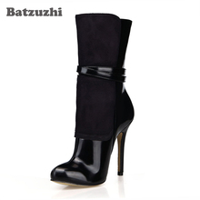 Batzuzhi-12cm Sexy High Heel Boots Women Pointed Toe Black Leather and Suede Ankle Boots Women Slip-on Winter Warm Ankle Boots 2017 luxury handmade pointed toe ankle fringe tassel short boots high end designed men genuine leather suede boots