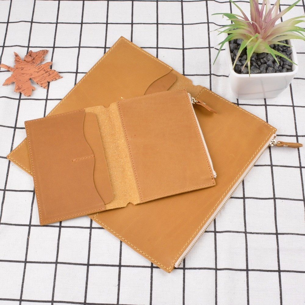 Genuine Leather Pocket Card File Holder With Storage Zipper Bag For Handmade Cow Leather Notebook Accessories Sketchbook Planner