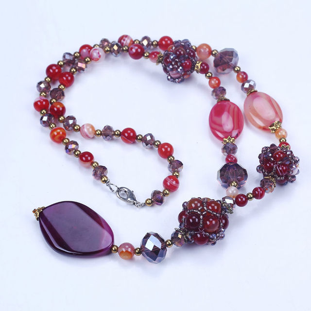 Fashion agate stone antique necklace crystal ladies women natural stone pendant  long pendant necklace costume accessories