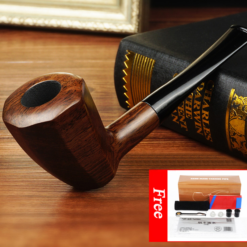 Weed Pipes Smoking Accessories Briar Wood Bent Type Pipe Carving Pipes Smoke Tobacco Cigarettes Filter Dismountable Handle Pipe