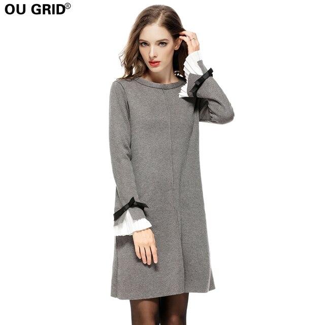 d25fd7d6d51 Женское весеннее трикотажное платье-свитер плюс размер S-4XL толстые теплые  высокое качество длинный