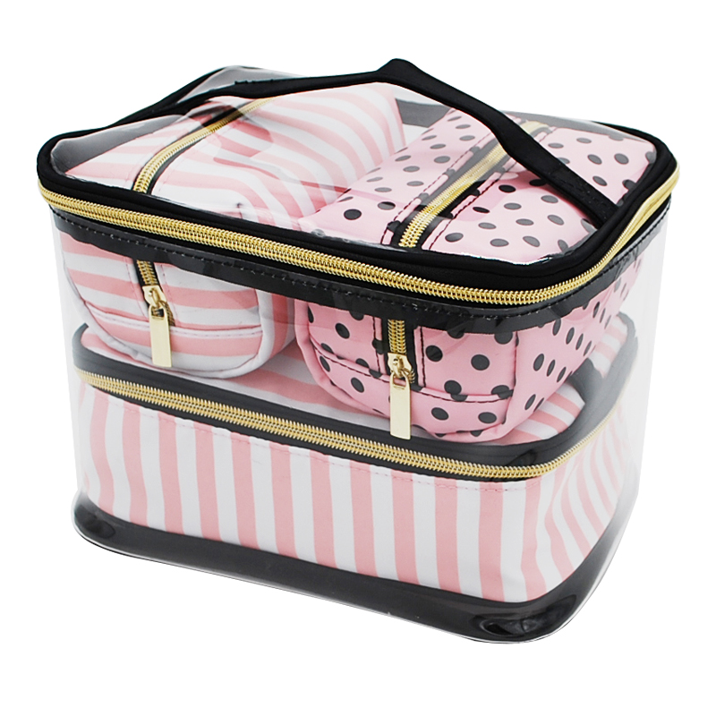 4Pcs/Set PVC Transparent Cosmetic Bag Women's Pink Travel Waterproof Clear Wash Organizer Pouch Beauty Makeup Case Accessories pvc transparent wash portable organizer case cosmetic makeup zipper bathroom jewelry hanging bag travel home toilet bag