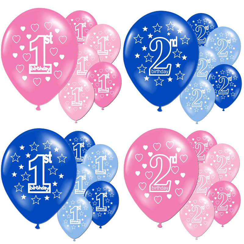 10pcs/lot Pink Blue Baby 1st 2nd Years Old Birthday Latex Balloons Girl Boy Baby Shower Party Decor Star Heart Printed Ballons
