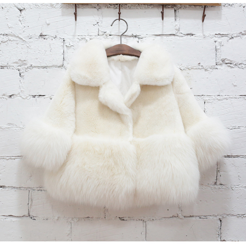 Kids Faux Fur wool Coat Jacket Jackets baby girl girls Winter Warm Thick Outwear Fashion White Wedding Size Age 2 3 4 5 6 Year недорого