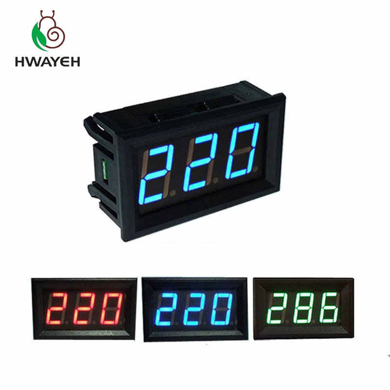 "AC 70-500 v 0.56 ""LED Digitale Voltmeter Voltage Meter Volt Instrument Tool 2 Draden Rood Groen Blauw display 110 v 220 v DIY 0.56 inch"