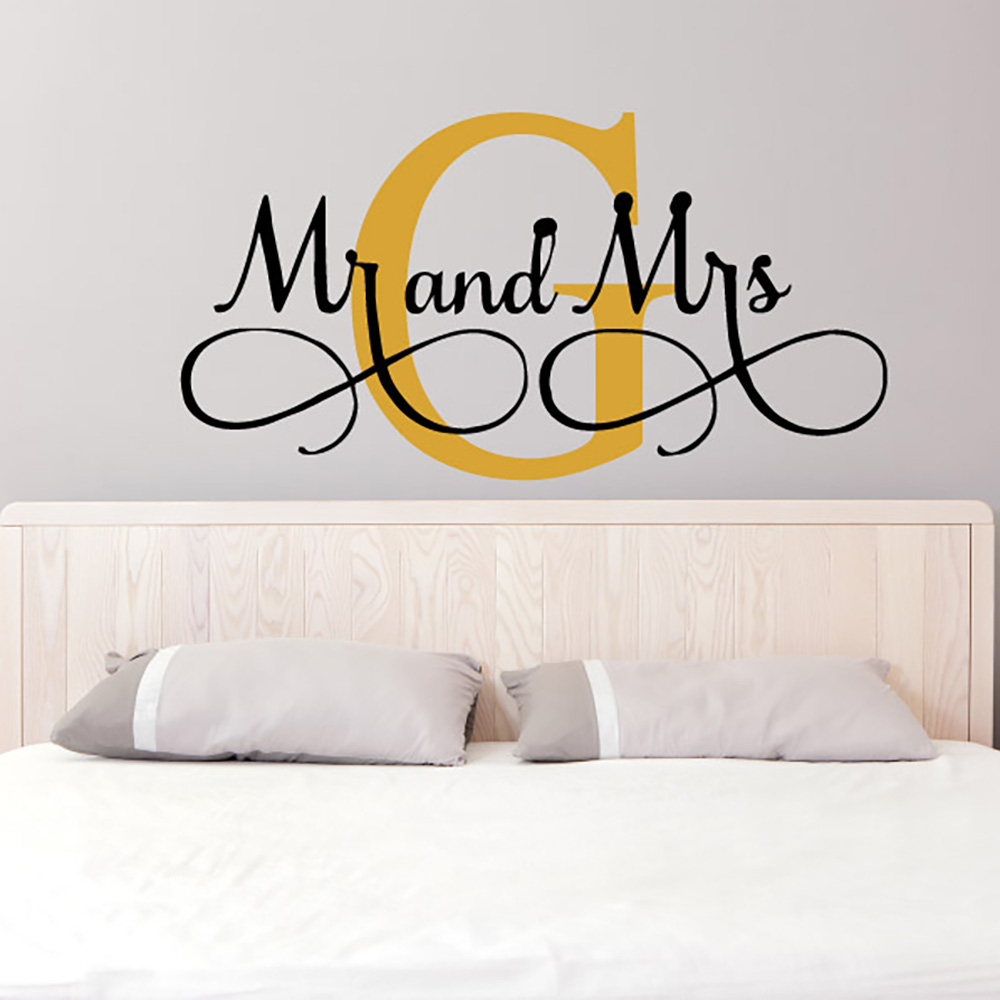 wall decal for bedroom mr amp mrs wall stickers custom name vinyl wall decals 17732