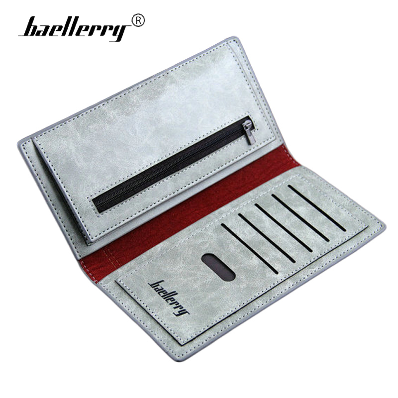Baellerry Male Purse Clutch Long Design Leather Wallet Men Brand Chineses Style Wolf Word Card Holder Vintage Men's Coin Pocket 1 design laser cut white elegant pattern west cowboy style vintage wedding invitations card kit blank paper printing invitation