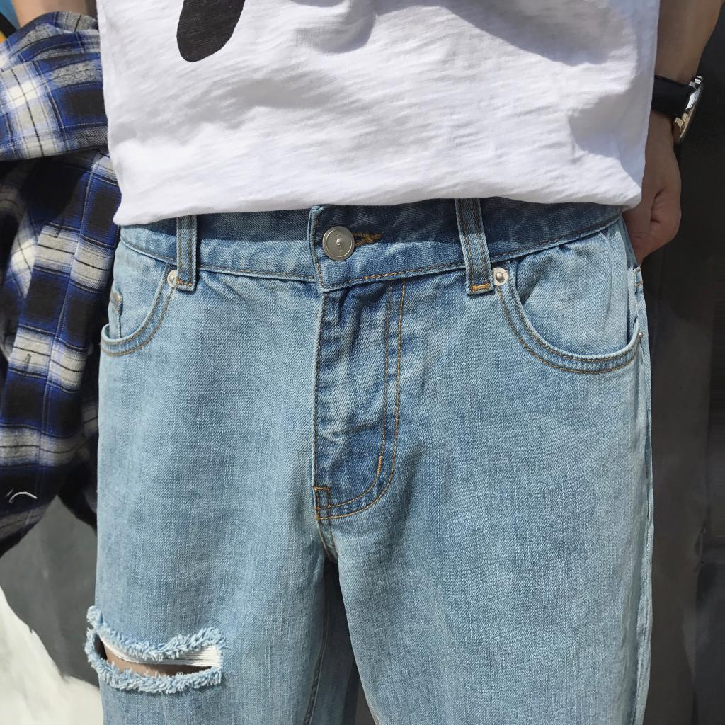 2019 spring Summer New Pattern Fashion Holes Denim Jeans Youthful Vigor Teenagers Tide Man Haren Cotton Blue Pants Size M 2XL in Jeans from Men 39 s Clothing
