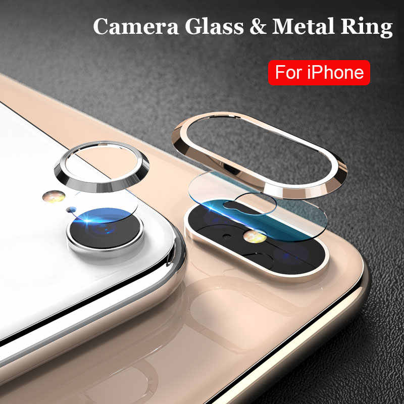 Protective Glass on the for iPhone 7 8 Plus X XS Max Camera Lens Glass Metal Ring Screen Protector Tempered Glass for iPhone XS