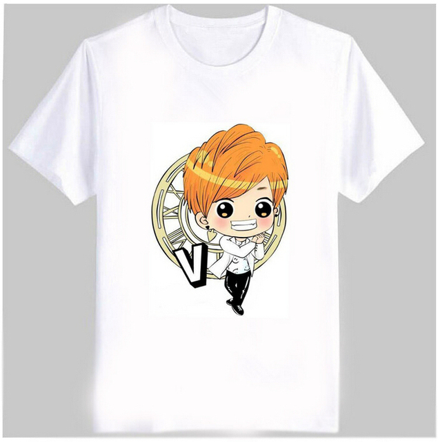 Bts Member Cartoon Images Print Cute Unisex T Shirt Kpop Bangtan