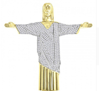 box chain 60cm Simulated diamonds 70mm big pendant jesus pendant Christ the Redeemer bling hip hop mens necklace