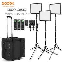 Free DHL Godox LED Light Kit 3x LEDP 260C 3300 5600K Video Light + Light Stand + Roller Carry Bag Video Studio Lights Camcorder
