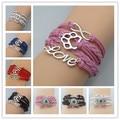 drop shipping bear paw Dog breed bracelet Infinity Bracelet gift Wrap Bracelet Red Black Blue Personalized