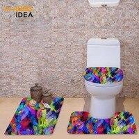 HUGSIDEA Fashion Toilet Seat Cover Multi color WC Bathroom Warm 3 PCS Toilet Accessories Set Toilet Lid Cover Floor Carpet Rugs