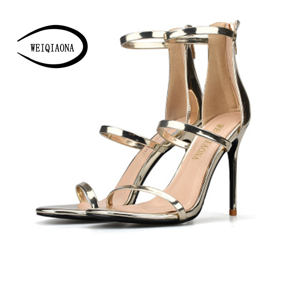 WEIQIAONA Brand Fashion Women sandals Sexy thin sandal high heels thin belt Ankle Strap Summer Ladies Party Wedding Shoes weiqiaona european 2018 women new fashion show leather snake skin rhinestone flowers high heel sandalss sexy ladies party shoes