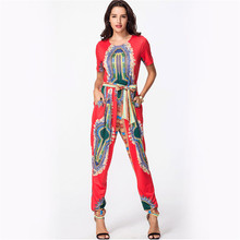 BAIBAZIN Africa dashiki Europe and the United States Women's digital printing jumpsuit corset straps long pants(China)