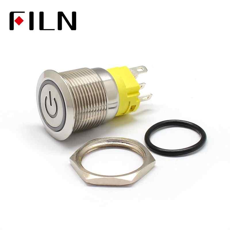 19mm 6 V 12 V 110 V 220 V LED verrouillage momentané en acier inoxydable anti-vandale étanche en métal bouton-poussoir interrupteur avec symbole de puissance