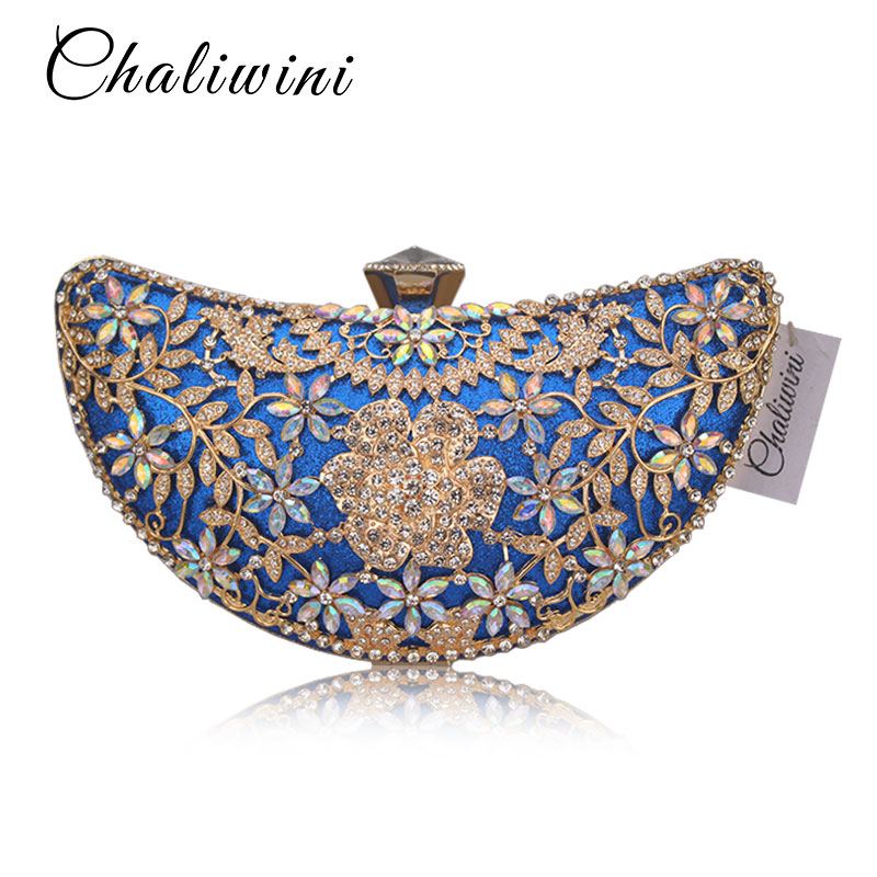 Chaliwini Classic Hollow Out Flower Women 4 Color Crystal Evening Purse Metal Clutch Bag Wedding Cocktail Prom Bridal Handbag