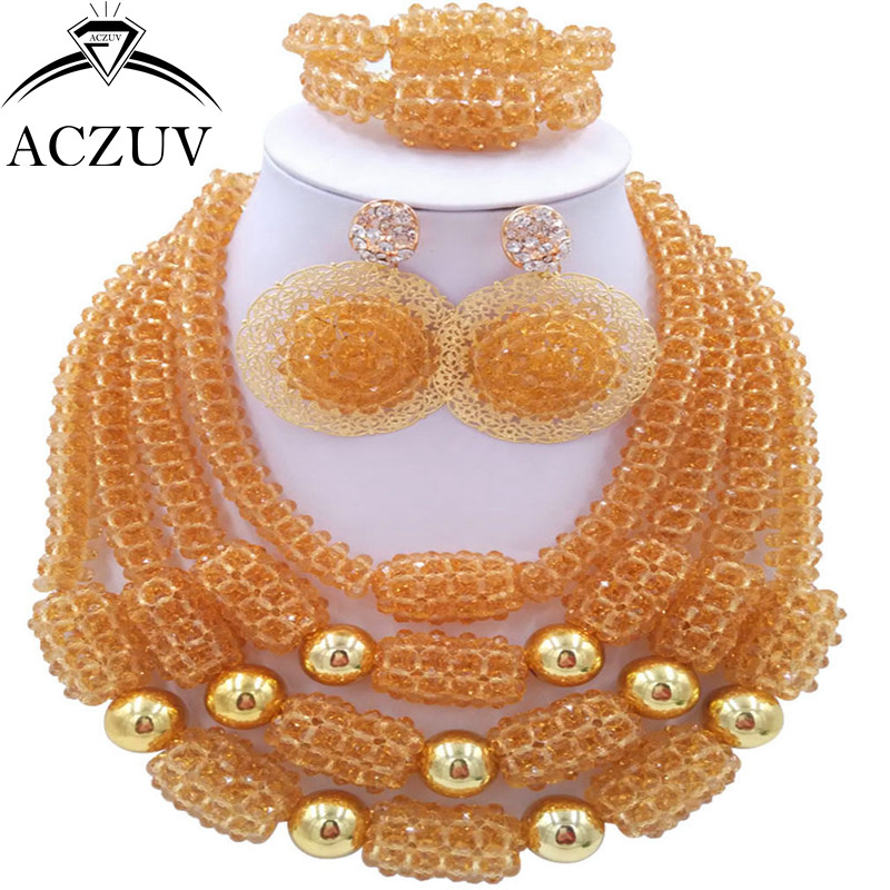 ACZUV Latest Champagne Gold African Wedding Beads Necklace and Earrings Bracelet Nigerian Jewelry Set for Women D4R024