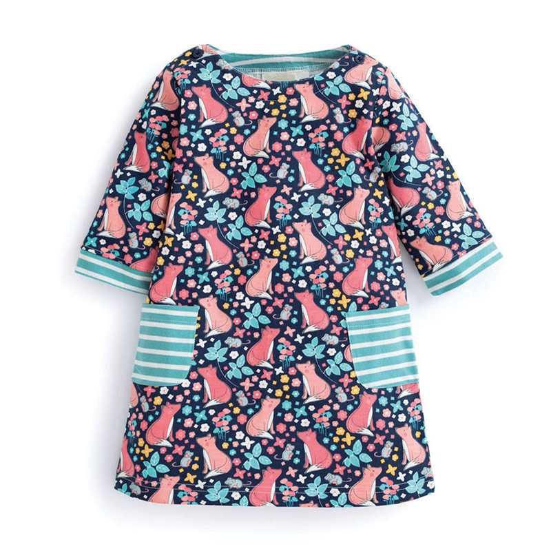Little maven New arrival baby girls dresses foxes printed animals long sleeve children clothes dresses autumn spring girl frocks little maven children brand baby girl clothes 2018 autumn new girls cotton long sleeve animal butterfly thick t shirt c0106