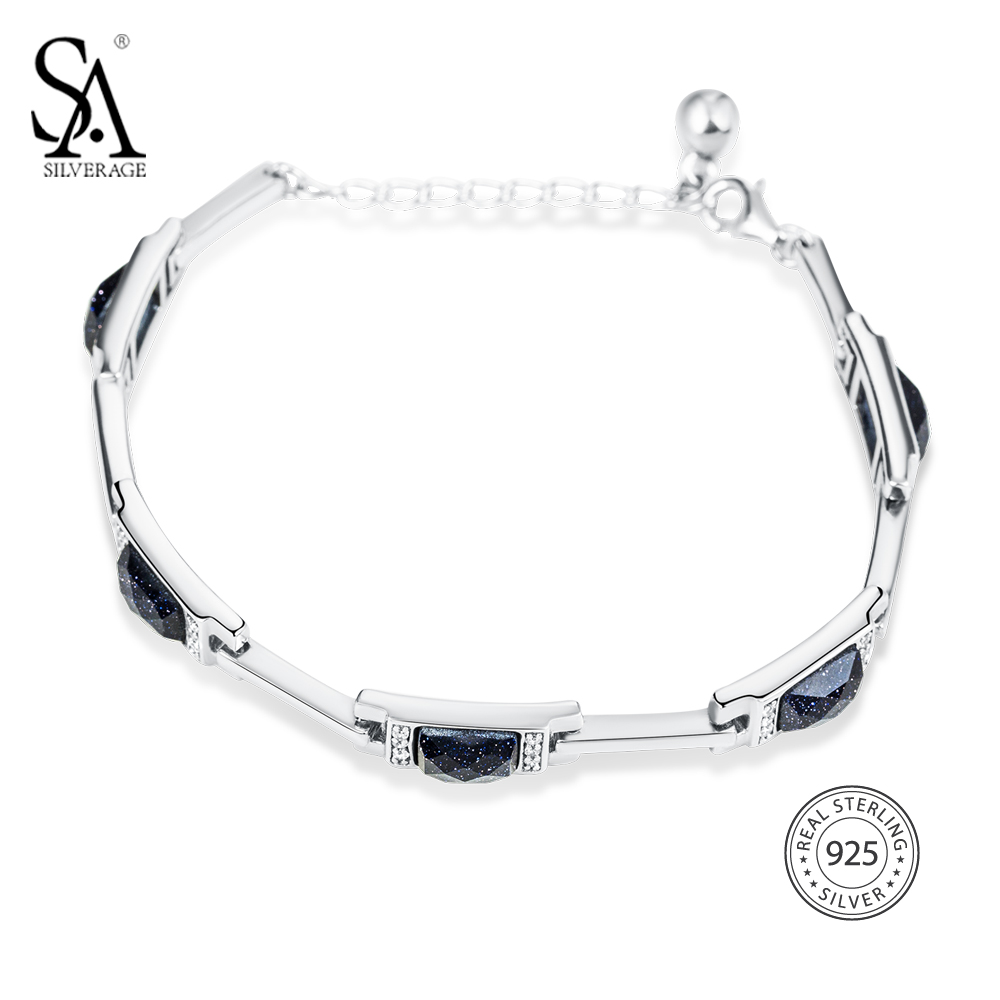 SA SILVERAGE 925 Silver Bracelet For Women Cuff Bracelet Genuine 925 Sterling Silver Fine Jewelry 2018 Accessories Gift delicate silver cuff bracelet for women page 4