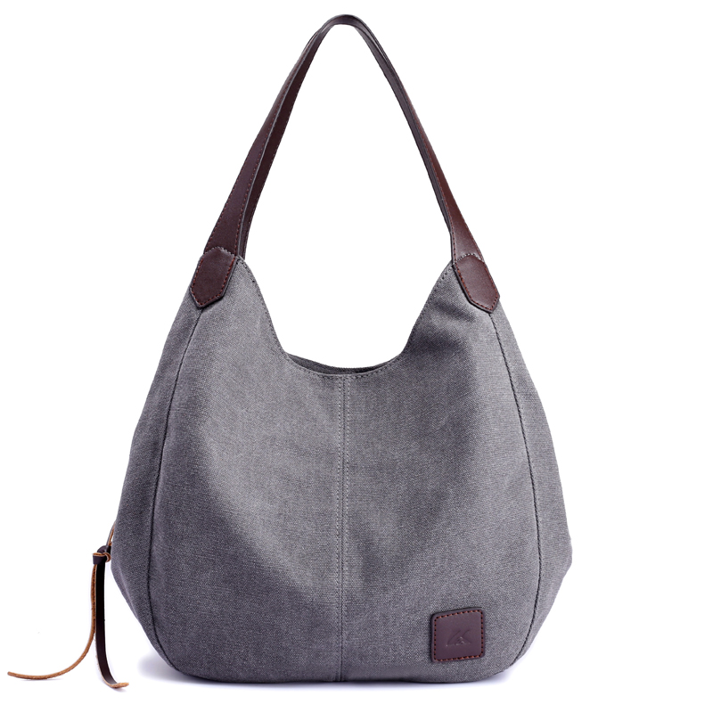 Canvas Handbags Bolsos Mujer Female Hobos Single Shoulder Bags Vintage Solid Multi-Pocket Ladies Totes Bolsas